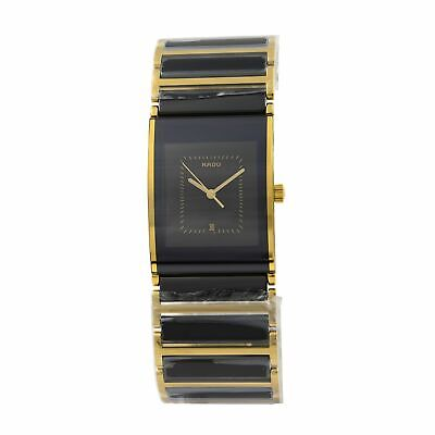 Rado Integral Gold PVD Steel Ceramic Quartz Black Dial Mens Watch R20787402