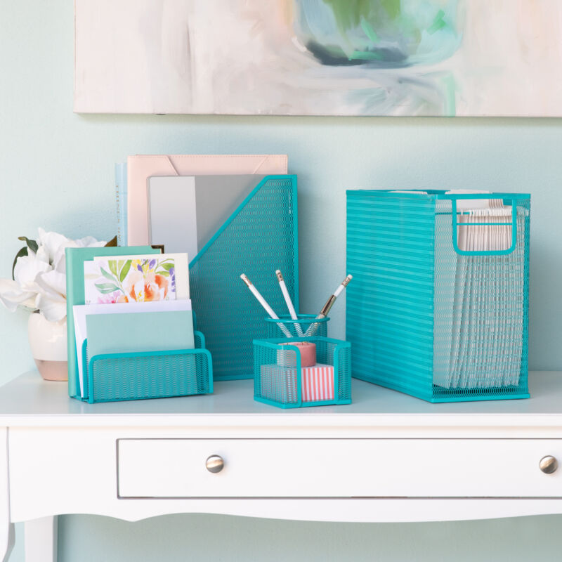Blu Monaco Teal 5 Piece Cute Desk Organizer Set