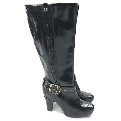 Naughty Monkey Black Patent Leather Tall Boots Womens Size 8 Heel Metal Hardware