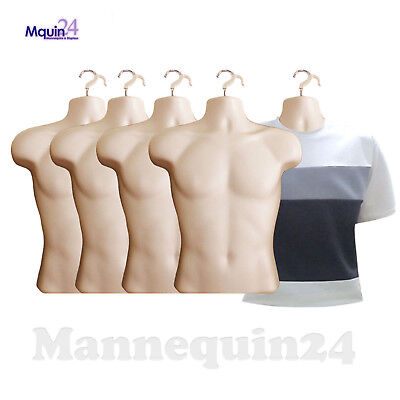 5 Pack Male Torso Mannequins - Flesh Men Dress Body Form 5 Hangers