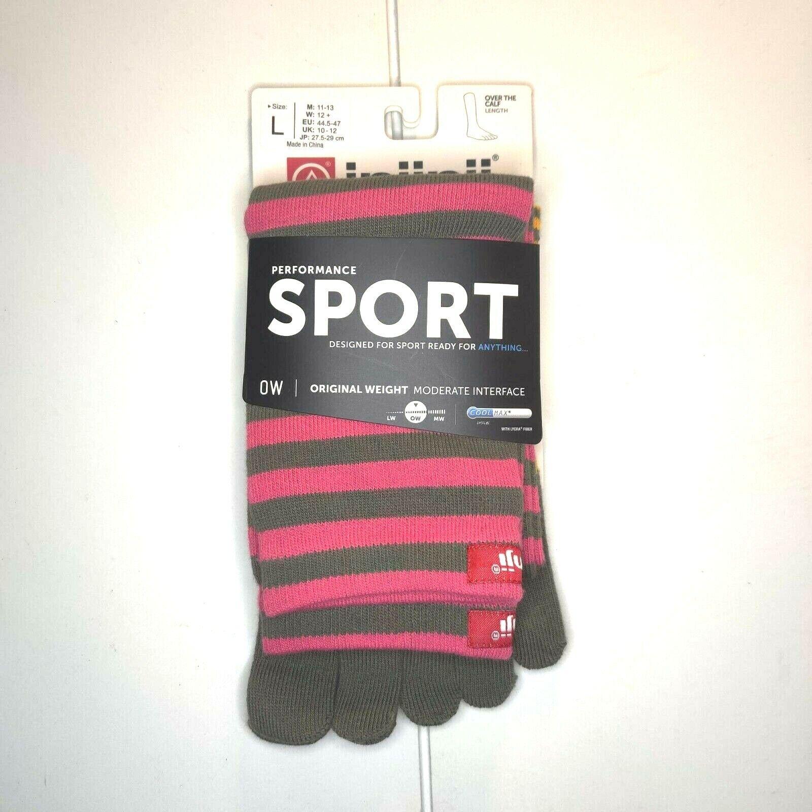Injinji Toe Socks Crew Length Performance Sport CoolMax Pink