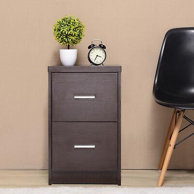 Wood Nightstand Bedside End Table Bedroom Furniture w/2 Drawer Storage Espresso (Espresso Bedside Table)