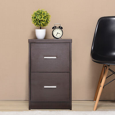 Wood Nightstand Bedside End Table Bedroom Furniture W2 Drawer Storage Espresso
