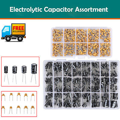 600pcs Ceramic Capacitor Assortment Kit With 500pcs Electrolytic Capacitor Kit