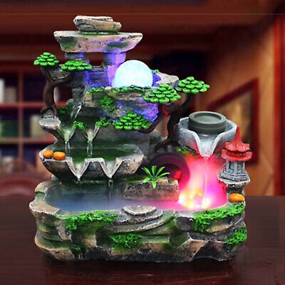 Indoor Water Fountain With LED Light And Mist Resin Rockery Waterfall Home Decor