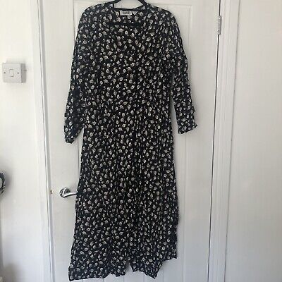 Vintage Jumpsuit Black Floral Medium