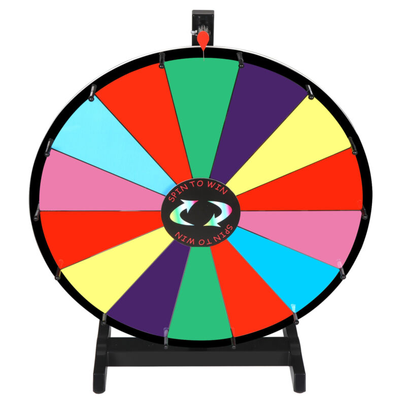 """24"""" Dry Erase Spinning Color Prize Wheel Tabletop Fortune Carnival Game Portable"""