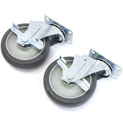 2 Plate Casters With 5 Polyurethane Wheels Swivel With Brakes Base New