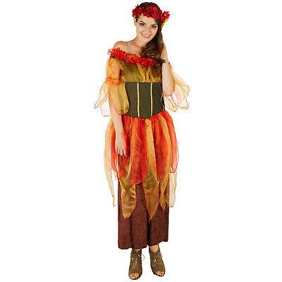 Frauenkostüm Herbstfee Kostüm Frauen Karneval Fasching Halloween Blätter Herbst ()