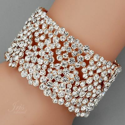 ROSE GOLD Plated Crystal Rhinestone Wedding Bangle Cuff Stretch Bracelet 07780