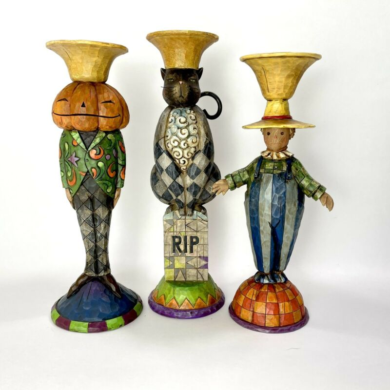 Jim Shore Set of 3 HALLOWEEN Candlestick Holders 4008113 Black Cat Scarecrow JOL