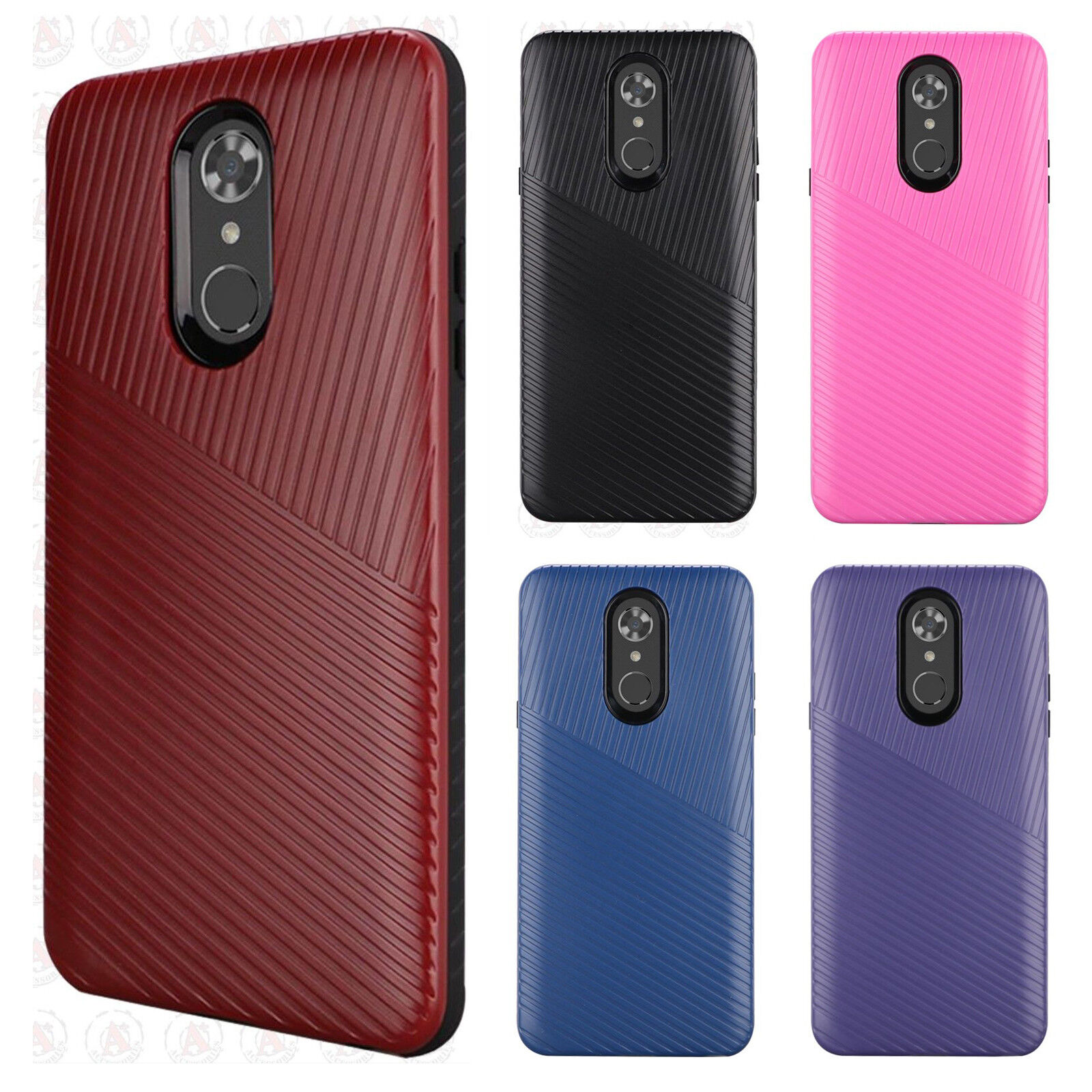For LG Stylo 4 Shockproof Lines Hybrid Impact Dual Layered Case Phone Cover