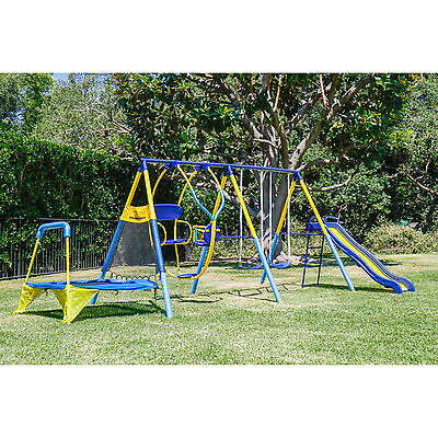 Kids Playground Set Outdoor Swing Slide w/Trampoline Backyard Playset Kids Fun