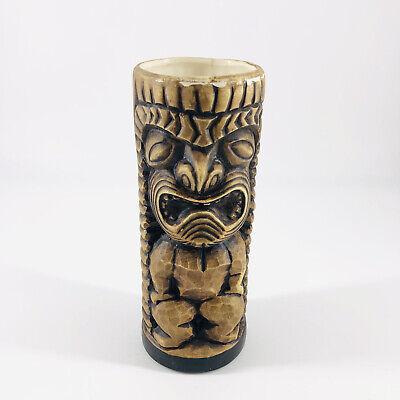 Vintage Ceramic Wood Look Tiki Mug Tumbler Ceramic Brown White Florida