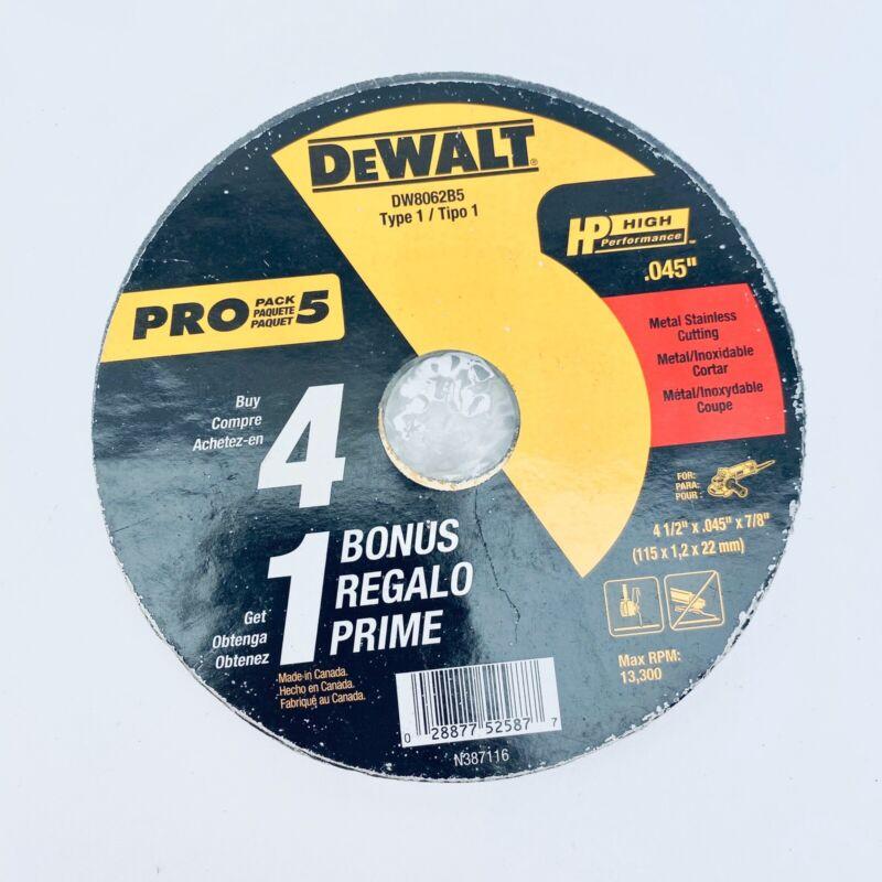 "DEWALT DW862B5 4-1/2"" X 045"" X 7/8"" TYPE 1, METAL STAINLESS CUTTING ( 5 PACK )"