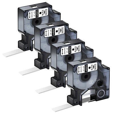 4pk Black On White Label Tape Ribbon 12mm For Dymo D1 45013 Labelmanager 200