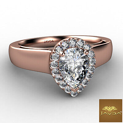 Halo Pave Set Womens Pear Diamond Engagement Ring Certified by GIA F VVS2 0.70Ct 9