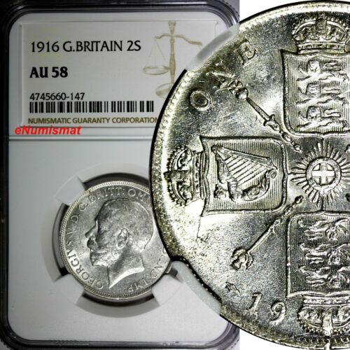 GREAT BRITAIN George V (1910-1936) Silver 1916 1 FLORIN NGC AU58 KM# 817