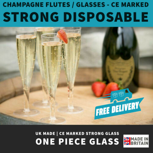 Plastic Champagne Flutes   UK Made   Recyclable   180ml    One Piece Glass