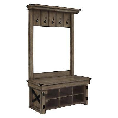 Wildwood Rustic Entryway Hall Tree with Bench - Gray Wash - Altra
