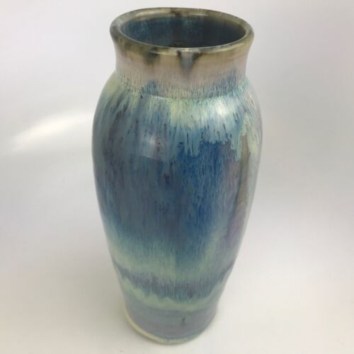 Signed Hand Pottery Vase with Blue/Earth Tone Colors Beautiful Collectable Vase