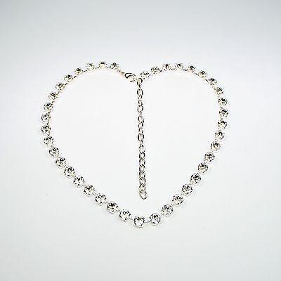 Damen Kette Collier Tennis 925 Silber Versilbert Swarovski Kristalle Klar Weiß