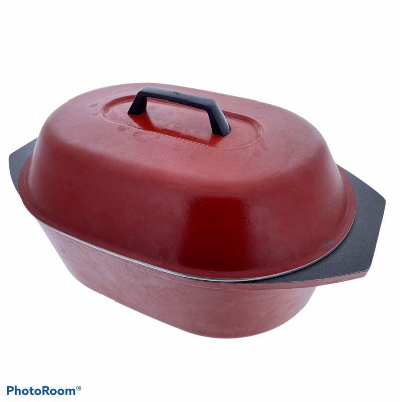 Vintage Kitchen Fair KF Burnt Orange Cast Aluminum Turkey Roaster w/ Lid