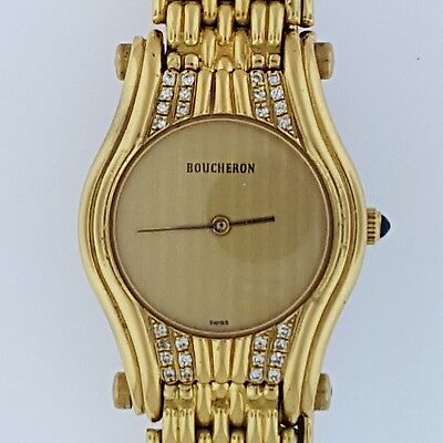 BOUCHERON Reflect~18K Solid Gold+Diamond~Bracelet Watch~Mint Condition~All Swiss