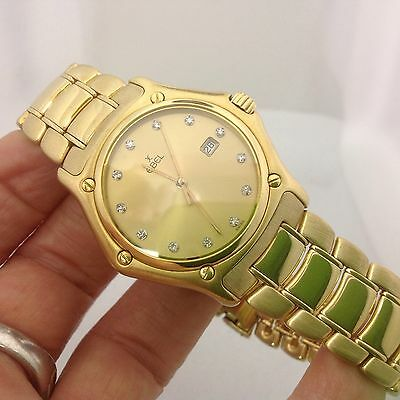 "MANS EBEL SOLID 18K YELLOW GOLD ""1911"" WATCH W/DIAMOND DIAL"