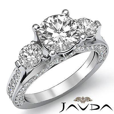 2.8ct Round Diamond Beautiful Engagement 3 Stone Ring GIA F VS2 14k White Gold