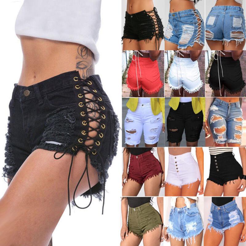 Summer Women High Waisted Short Mini Jeans Ripped Jeans Deni