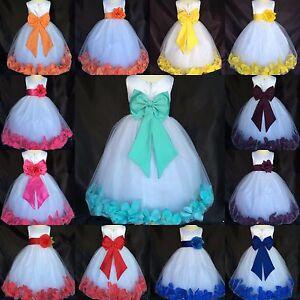 White-Satin-Tulle-Rose-Petal-Dress-Big-Bow-Easter-Wedding-Toddler-Infant-Girl-24