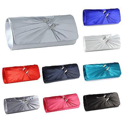 New Satin Diamante Pleated Evening Clutch Bag Bridal Handbag Prom (Pleated Clutch)