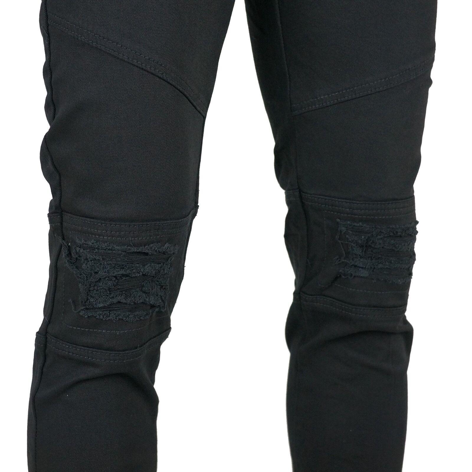 KDNK Men/'s Knee Destroyed Patch Skinny Fit Jeans Pants 30-38