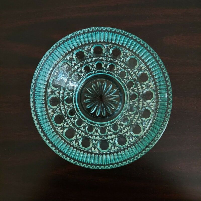 Candy Dish Blue Aqua Teal Turquoise Windsor by Federal Glass with Lid