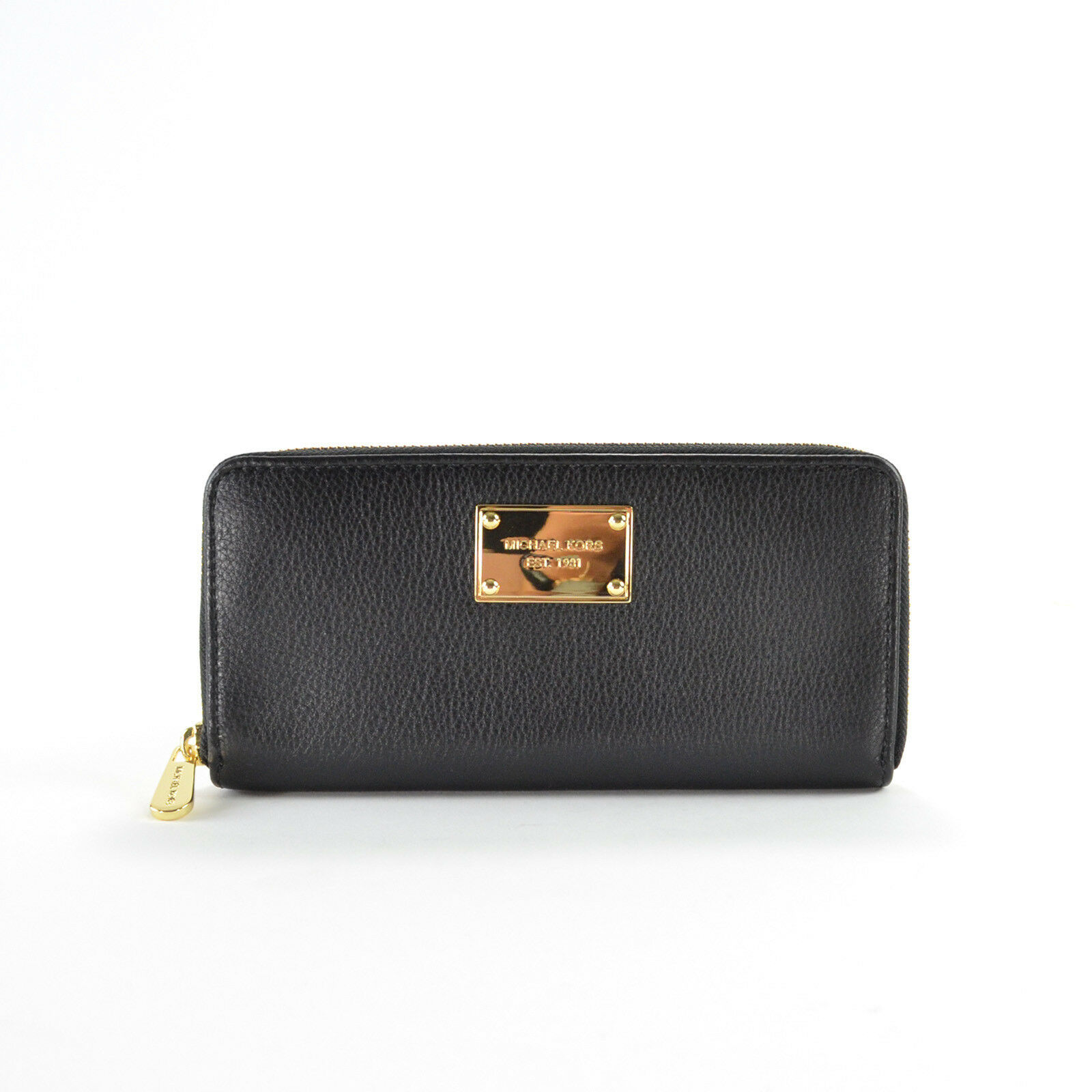5d77ff827d56 Details about Michael Kors Leather Jet Set Travel Continental Zip Around  Wallet BLACK