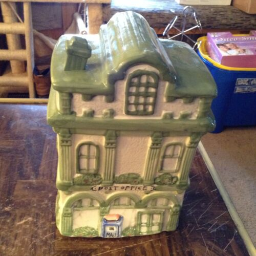 Ceramic collectible cookie jar post office