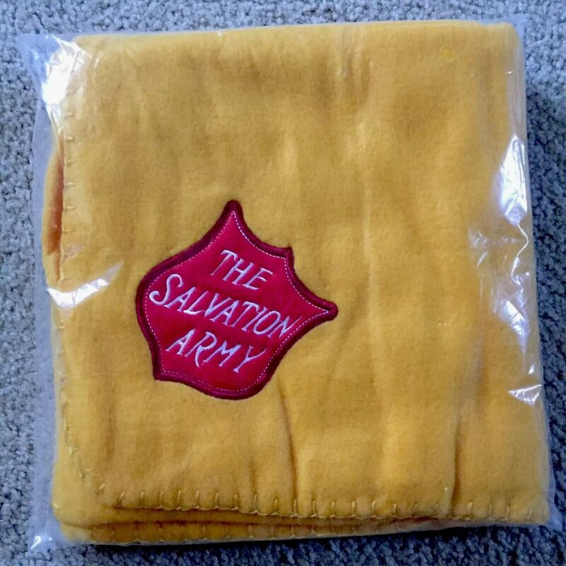 """SALVATION ARMY Blanket Embroidered Logo 30"""" x 40"""" Dark Yellow Polyester"""