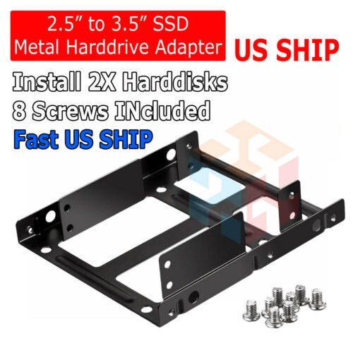 "Dual 2.5"" SSD HDD to 3.5"" Metal Mount PC Casing Hard Drive Bay Bracket Adapter"