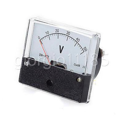 Us Stock Analog Panel Volt Voltage Meter Voltmeter Gauge Dh-670 0-50v Dc