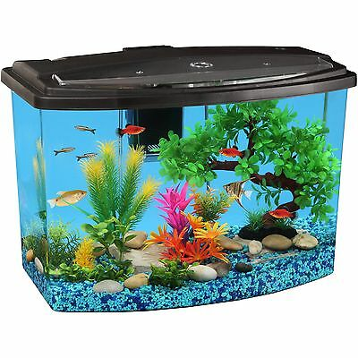 7 Gallon Bow View Aquarium Kit with LED Light and Power Filter Hawkeye