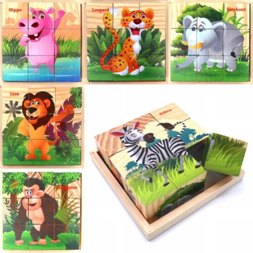 Wooden Cube Blocks For Kids Toddlers Educational Toy Puzzle - Forest Animals