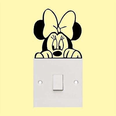 Minnie Maus _Lichtschalter _Wandkunst_Aufkleber Lustig Vinyl Aufkleber