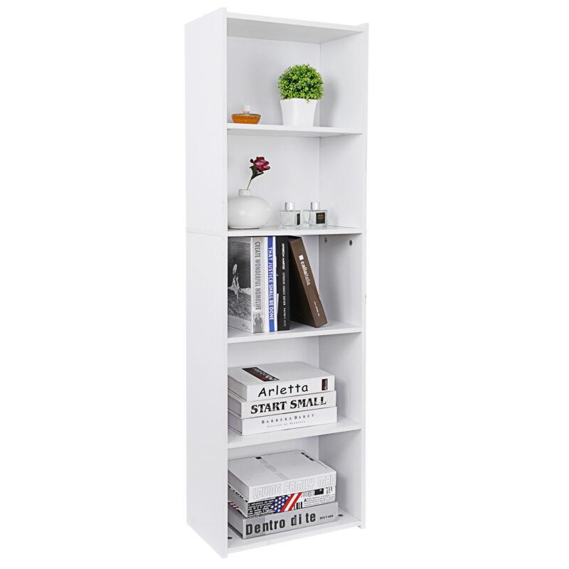 5-Tier Bookshelf Storage Wall Shelf Organizer White Bookcase Shelving Unit Home