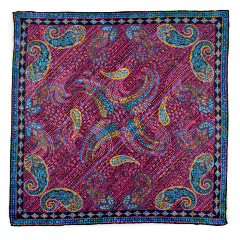 New SANTOSTEFANO Purple Blue Silk Paisley Pocket Square Handkerchief NWT $150!