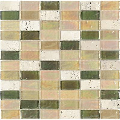 Rectangles Beige Green Orange Frosted Glass Stone Mosaic Tile Backsplash MTO0272