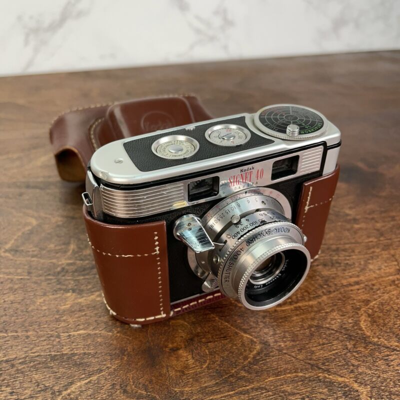 Vintage Kodak Signet 40 Camera And Case: Untested As Is For Parts