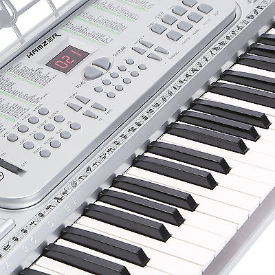 New Hamzer 61 Key Electronic Music Keyboard Electric Piano Organ Silver on Rummage