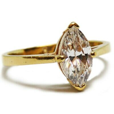 Size 8 Gold Plated Marquis Glass Solitaire Ring