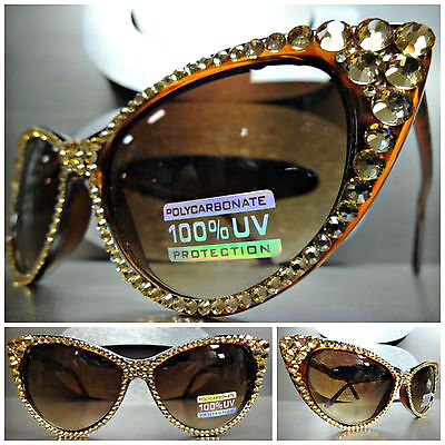 VINTAGE 60s CAT EYE Style BLING SUNGLASSES Tortoise frame Gold Crystals Handmade